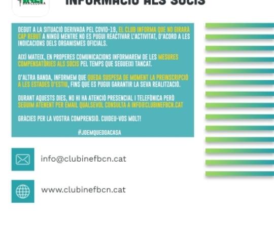 COMUNICAT   Informació dirigida als Socis del Club Esportiu INEF Barcelona