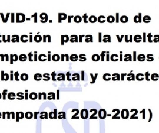 Protocol d'actuació per a la tornada de les competicions oficials d'àmbit estatal i caràcter no professional 2020/2021